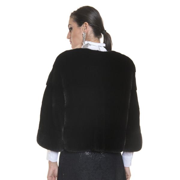 Jacheta blana naturala de vizon, 52 cm, neagra