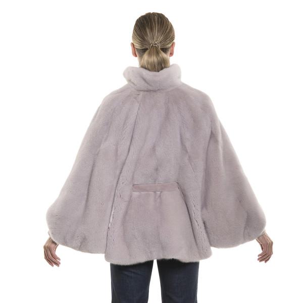 Haină tip capa de blană naturală de vizon/nurcă, roz pudrat, 62 cm