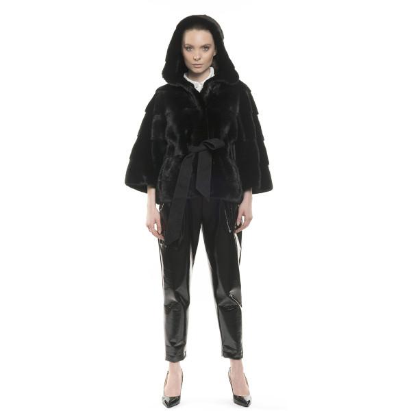 Jachetă de blană naturală de vizon/ nurcă cu gluga, neagră, 65cm