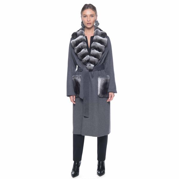 Palton din casmir cu guler si buzunare de chinchilla, culoare gri, 100 cm lungime