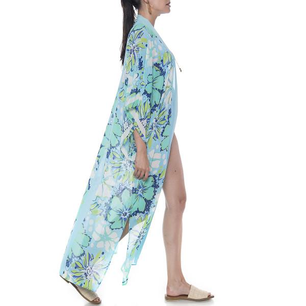 Kimono deschis Aqua Marine & lines, voal transparent