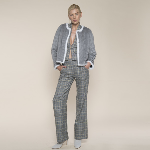 Jacheta blana naturala vizon pe suport lana, light gray, 50cm