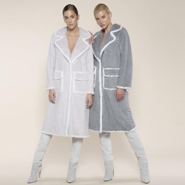 Haina blana naturala vizon pe suport lana, light gray, 120cm