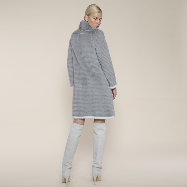Haina blana naturala vizon montat pe suport lana, gri, 90cm