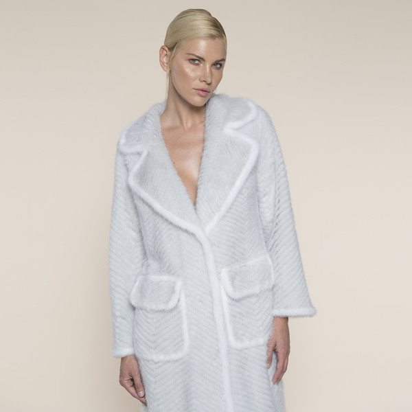 Haina blana naturala vizon/suport lana, revere largi, gri cu margine alba, 120cm