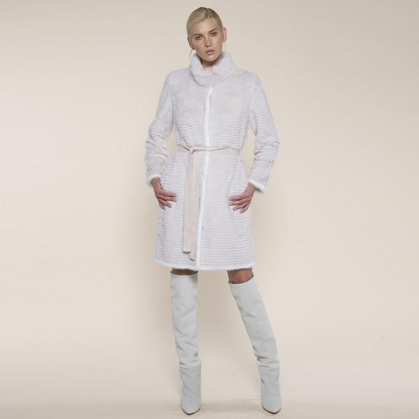 Haina blana naturala vizon/suport lana 100%, roz deschis margini albe, 90cm