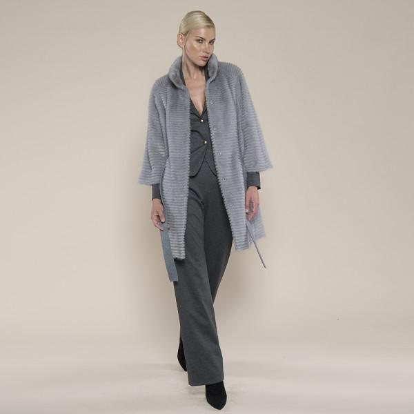 Haina blana naturala vizon/suport lana 100%, gri antracit, 80cm
