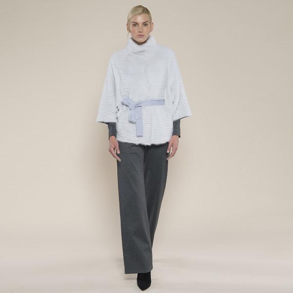 Jacheta blana naturala vizon/suport lana 100%, cu cordon, gri deschis, 80cm