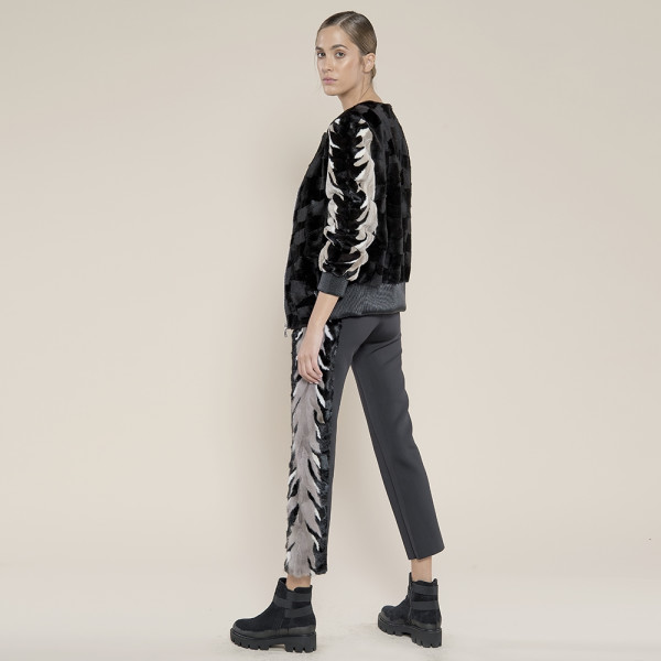 Pantaloni neopren  negru, blana naturala vizon hand-made tri-culori aplicata pe lateral
