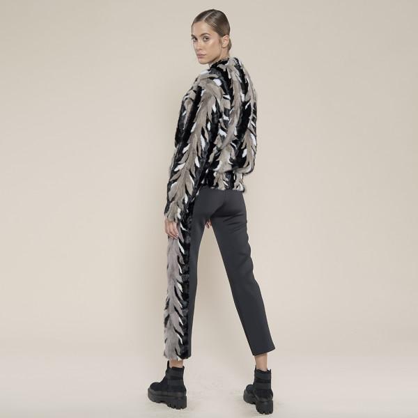 Bluzon blana naturala vizon, hand made, trio-culori gri/negru/alb, 50cm