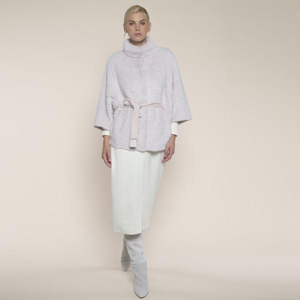 Jacheta blana vizon montat pe suport lana, cu cordon, roz pal, 65cm
