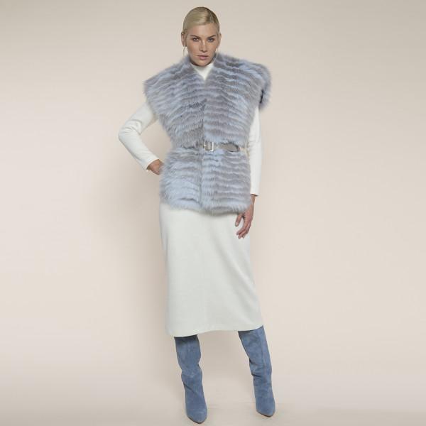 Vesta blana naturala vulpe, tip guler supradimensionat, alb cu bleu