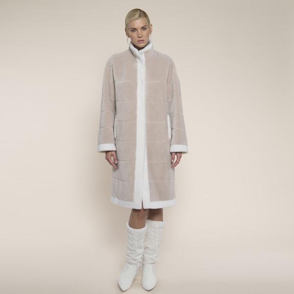 Palton blana naturala miel Australian, bej cu bordura alba, 110cm