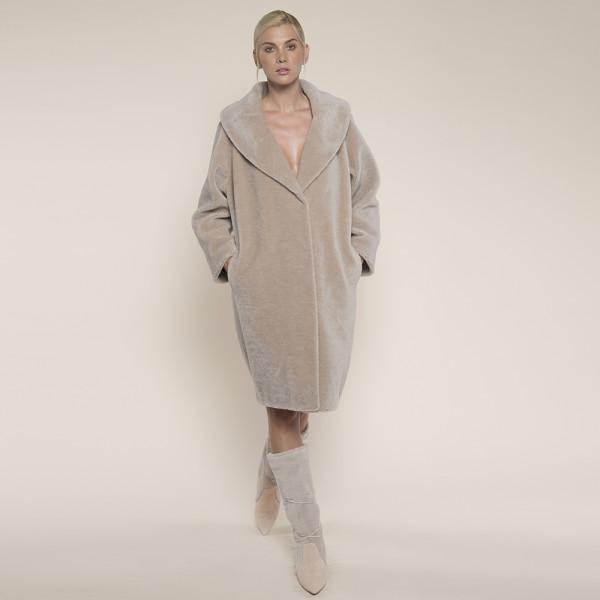Palton blana naturala miel Australian bej, guler sal, 100cm