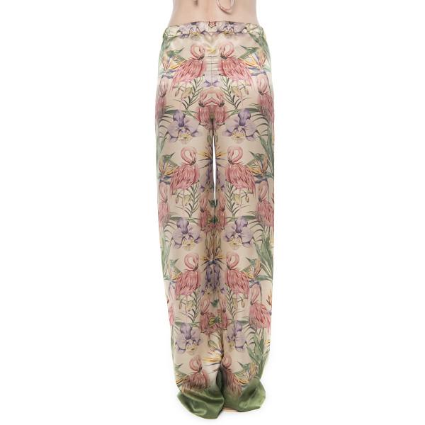 Pantalon lung Tropical Breeze, matase naturala 100%, bordura verde