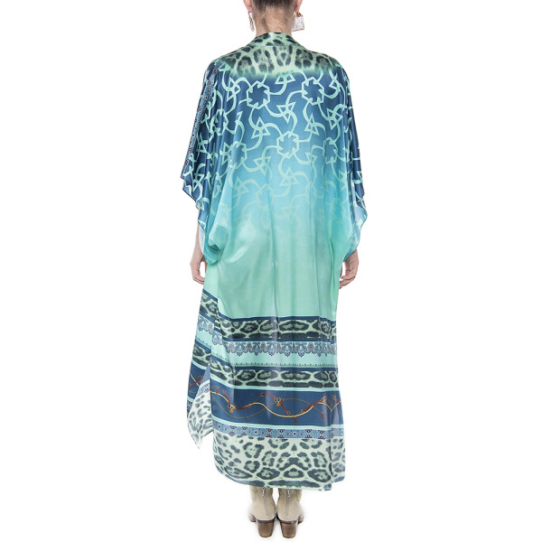 Kimono deschis, matase 100%, imprimeu Aqua Jewel