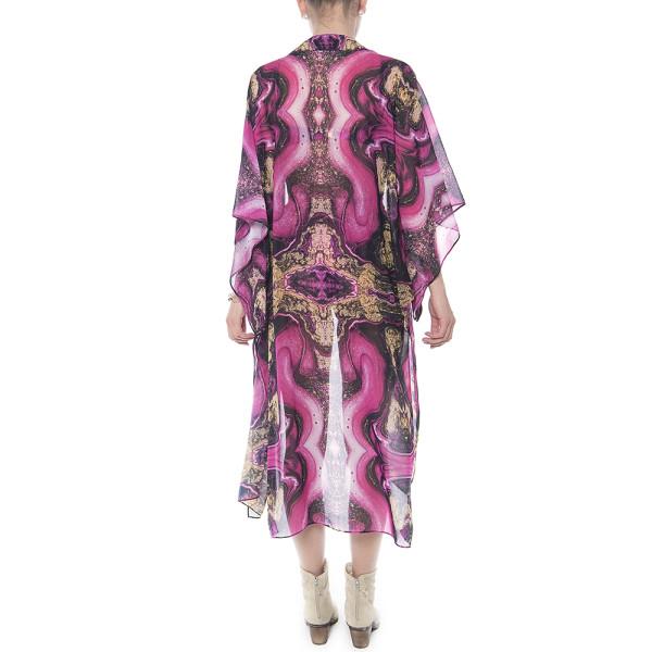Kimono deschis, voal, imprimeu Summer Kiss
