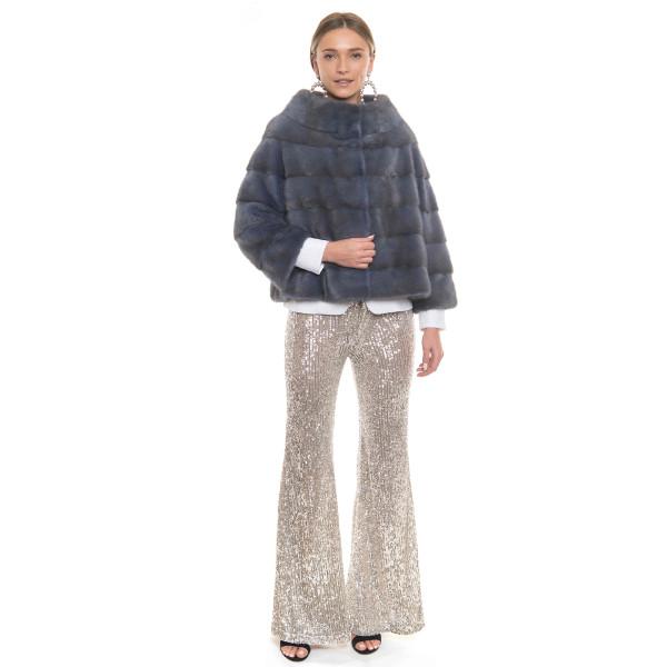 Jacheta blana naturala vizon, culoare speciala albastru pudrat, 50cm