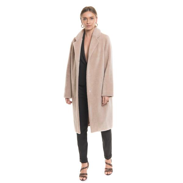Palton blana naturala miel Australian, blana tip lana, bej, 107 cm