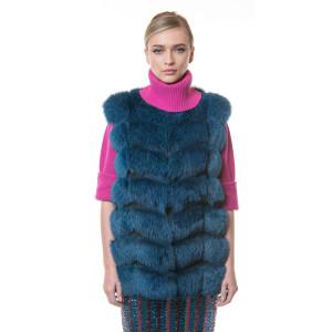Vesta blana naturala vulpe, albastru electric, 70cm