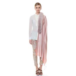 Sal matase 100% 70x190cm cu blana naturala raton, roz pudat