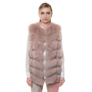 Natural fur fox vest, powdered pink, 70 cm