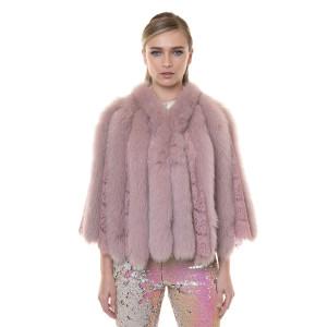 Capa dantela cu blana naturala vulpe roz pudrat