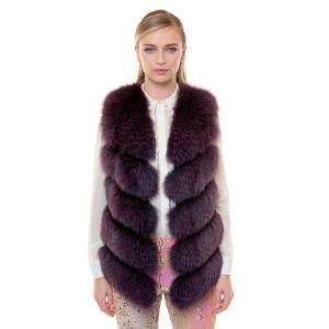 Vesta blana naturala vulpe, violet, 70cm