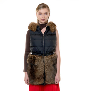Polyester vest with natural fur raccoon, natural, 80cm