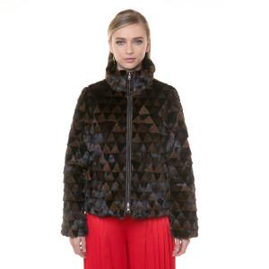 Jacheta blana naturala vizon combinatie negru-maro, reversibila, 60cm