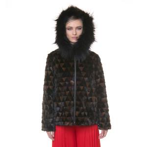 Jacheta blana naturala vizon combinatie maro si negru, cu gluga, reversibila, 60cm