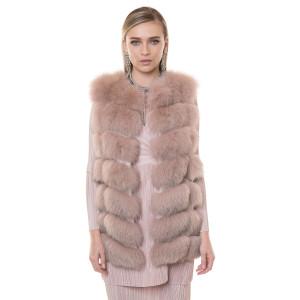 Vesta blana naturala vulpe, roz pudrat, 70cm