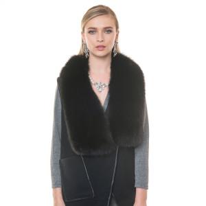 Vesta casmir cu guler blana naturala vulpe, culoare neagra, 70 cm