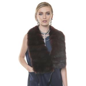 Vesta cashmere cu blana naturala zibelina, asimetrica, 70cm