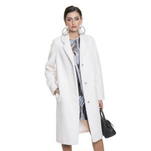 Palton dama din blana naturala din miel Australian, blana tip lana, alb, 107cm