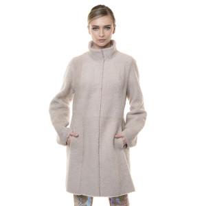 Palton reversibil, blana naturala miel, bej, 90 cm