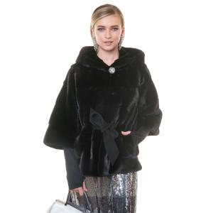 Jacheta blana naturala vizon cu gluga, negru, 65cm