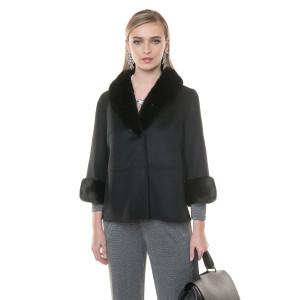 Jacheta cashmere cu vizon, negru, 64cm