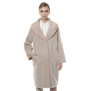 Palton blana naturala miel Pearl Australian, blana tip lana, bej,107 cm