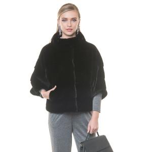 Jacheta blana naturala vizon negru, 50cm