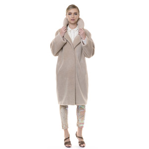 Palton blana naturala din miel Australian, blana tip lana, bej,107 cm