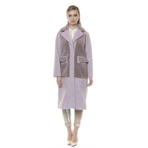 Pardesiu blana naturala miel, dusty pink - light purple, 108cm