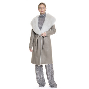 Palton de blana naturala miel, reversibil, culoare grej