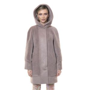 Palton cu gluga din blana naturala miel si casmir, roz pudrat, 82cm
