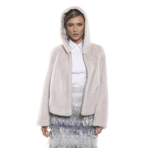 Jachetă de blană naturală de vizon, 62cm, roz gri pudrat