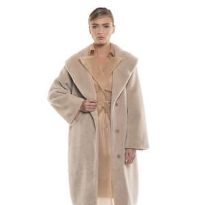 Palton de dama din blană naturală de miel Pearl Australian, blana tip lână, bej pastel, 107 cm