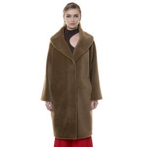 Palton blana naturala miel, blana tip lana, camel, 107cm