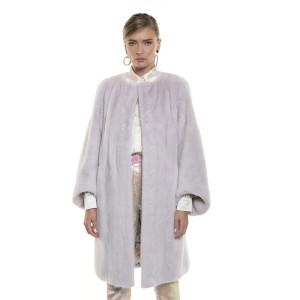 Haină de blană naturală de vizon/ nurca, mâneci taietura oblica, culoare speciala gri roz pudrat, 90cm