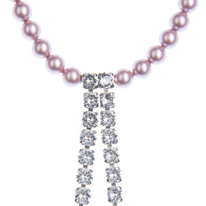 Necklace Ama pearls Swarovski Powder Rose, Swarovski crystals