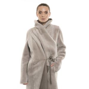 Palton reversibil din blană naturală de miel, bej pastel